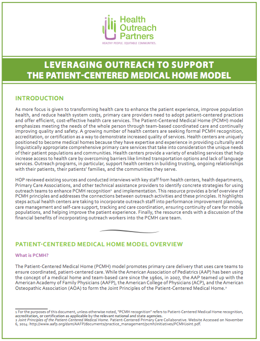 Leveraging Outreach to Support the Patient-Centered Medical Home ...